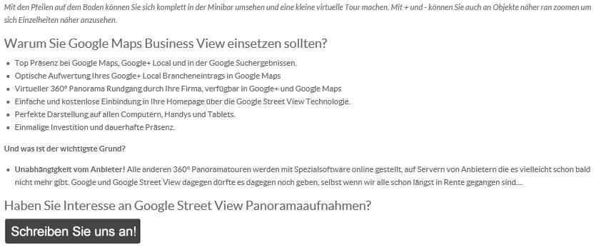 Google Business View Panoramatouren in Mengen